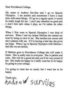 Andrew's letter to admissions.