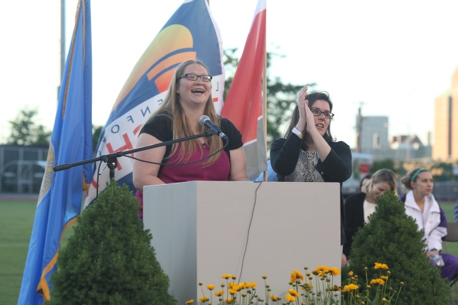 Lauren Hopper and Amanda Church emcee the Special Olympics Massachusetts Opening Ceremony.