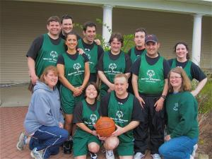 Trey Marabella (3nd from right, back) with the Special Olympics Massachusetts basketball team that went to the 2010 National Games in Nebraska.